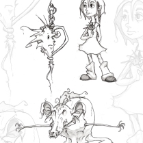 Pencil sketch character design concepts for my book: The Quest of Heart - 2005