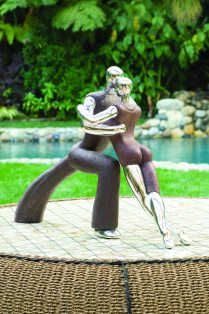 Statuary made of stone, resin and solid aluminum.