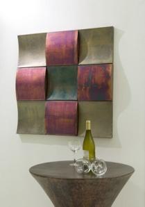 Copper panel wall decor.